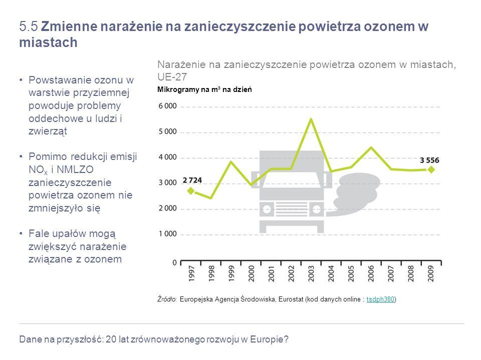Dane na przyszłość: 20 lat zrównoważonego rozwoju w Europie? 5.5 Zmienne narażenie na zanieczyszczenie powietrza ozonem w miastach Powstawanie ozonu w