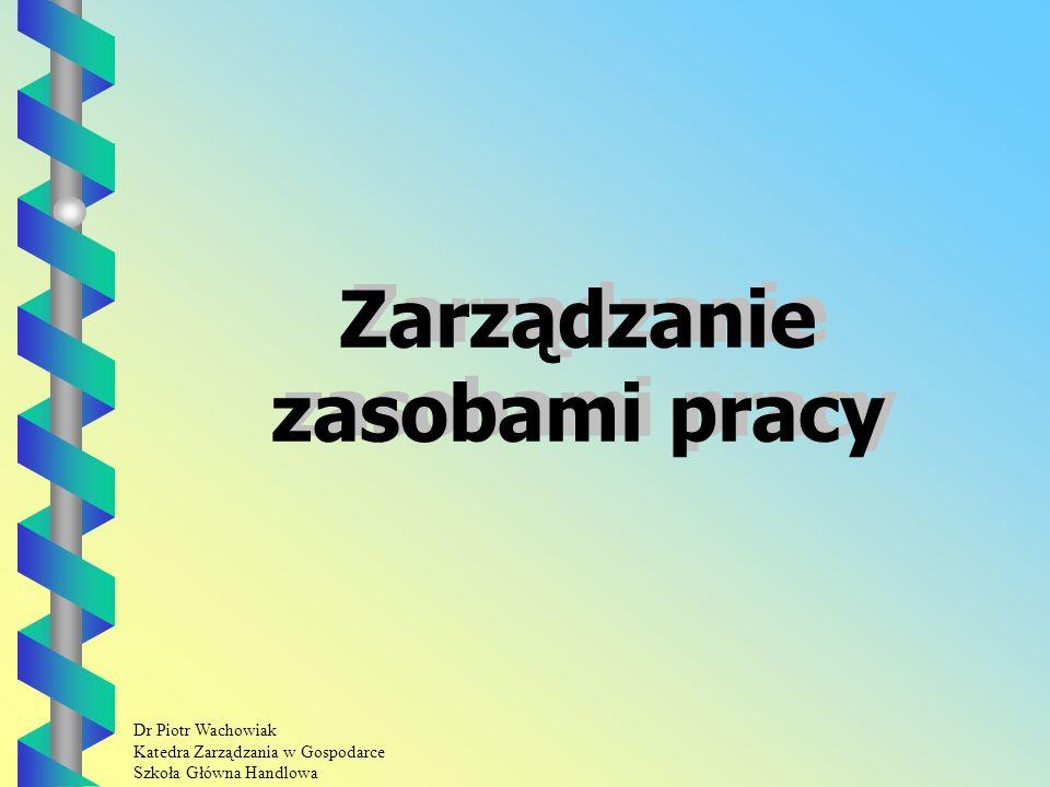 Dr Piotr Wachowiak Katedra Zarządzania w Gospodarce Szkoła Główna Handlowa Zarządzanie zasobami pracy