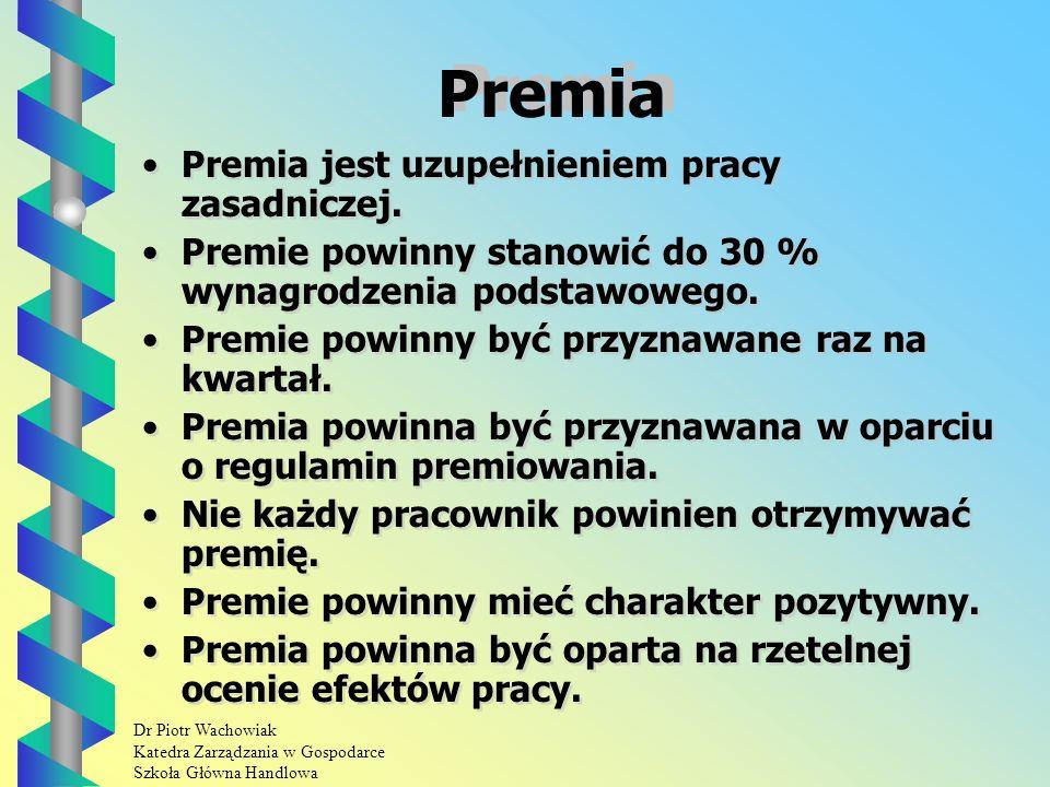 Dr Piotr Wachowiak Katedra Zarządzania w Gospodarce Szkoła Główna Handlowa Premia Premia jest uzupełnieniem pracy zasadniczej.