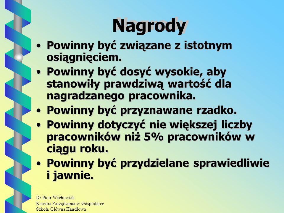 Dr Piotr Wachowiak Katedra Zarządzania w Gospodarce Szkoła Główna Handlowa Nagrody Powinny być związane z istotnym osiągnięciem.