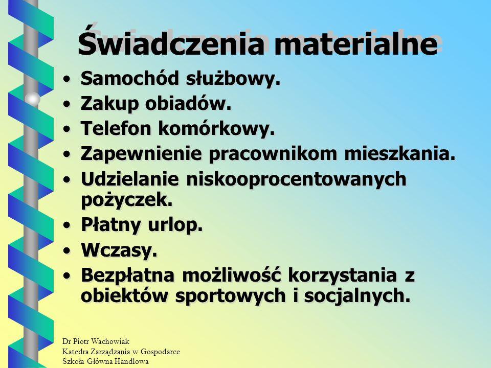 Dr Piotr Wachowiak Katedra Zarządzania w Gospodarce Szkoła Główna Handlowa Świadczenia materialne Samochód służbowy.