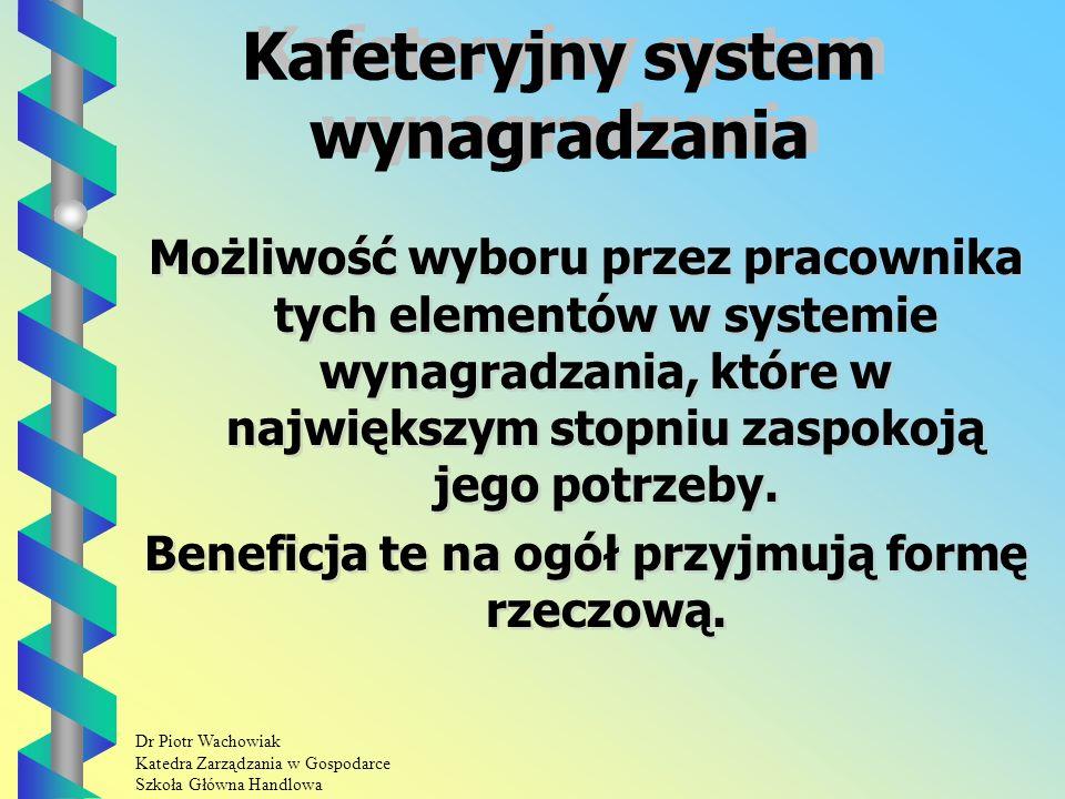 Dr Piotr Wachowiak Katedra Zarządzania w Gospodarce Szkoła Główna Handlowa Kafeteryjny system wynagradzania Możliwość wyboru przez pracownika tych elementów w systemie wynagradzania, które w największym stopniu zaspokoją jego potrzeby.
