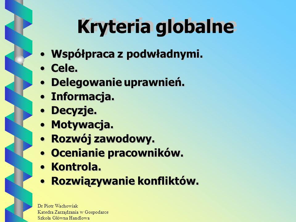 Dr Piotr Wachowiak Katedra Zarządzania w Gospodarce Szkoła Główna Handlowa Kryteria globalne Współpraca z podwładnymi.