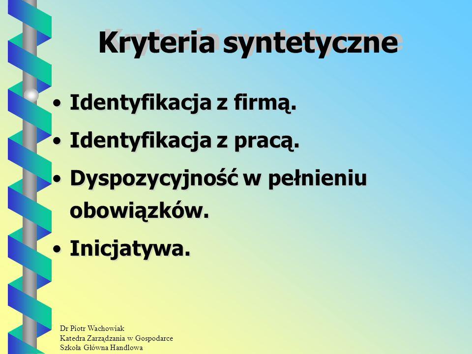 Dr Piotr Wachowiak Katedra Zarządzania w Gospodarce Szkoła Główna Handlowa Kryteria syntetyczne Identyfikacja z firmą.