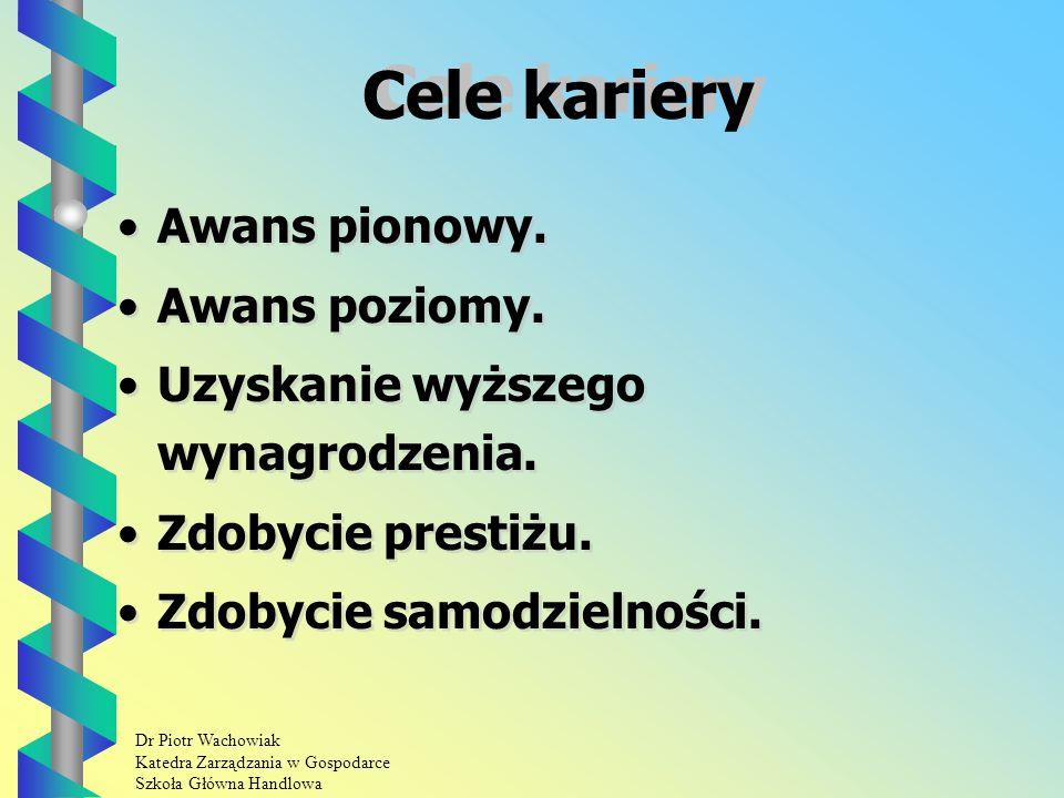Dr Piotr Wachowiak Katedra Zarządzania w Gospodarce Szkoła Główna Handlowa Cele kariery Awans pionowy.