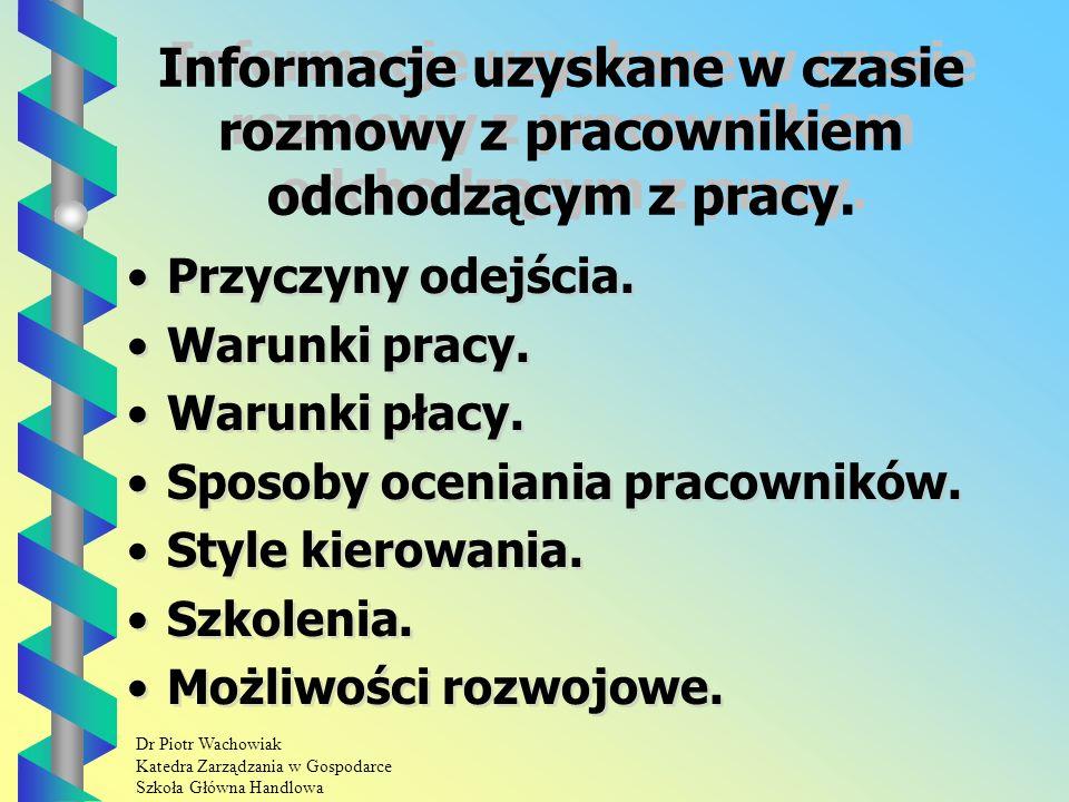 Dr Piotr Wachowiak Katedra Zarządzania w Gospodarce Szkoła Główna Handlowa Informacje uzyskane w czasie rozmowy z pracownikiem odchodzącym z pracy.