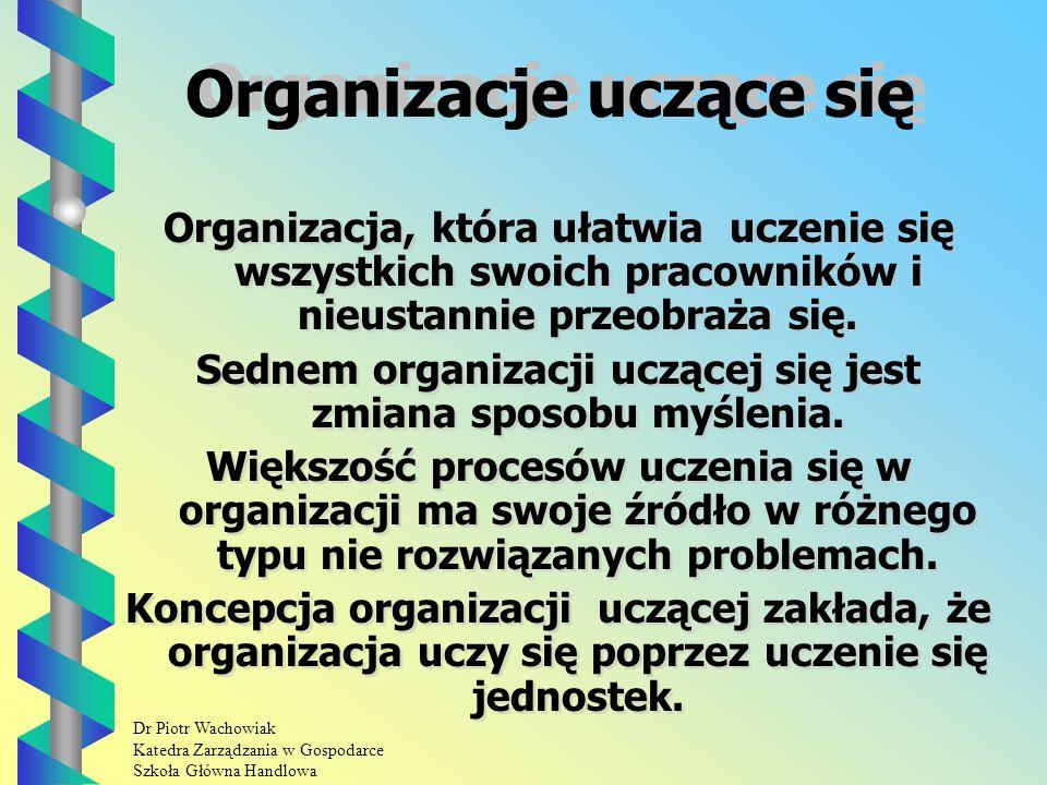 Dr Piotr Wachowiak Katedra Zarządzania w Gospodarce Szkoła Główna Handlowa Organizacje uczące się Organizacja, która ułatwia uczenie się wszystkich swoich pracowników i nieustannie przeobraża się.