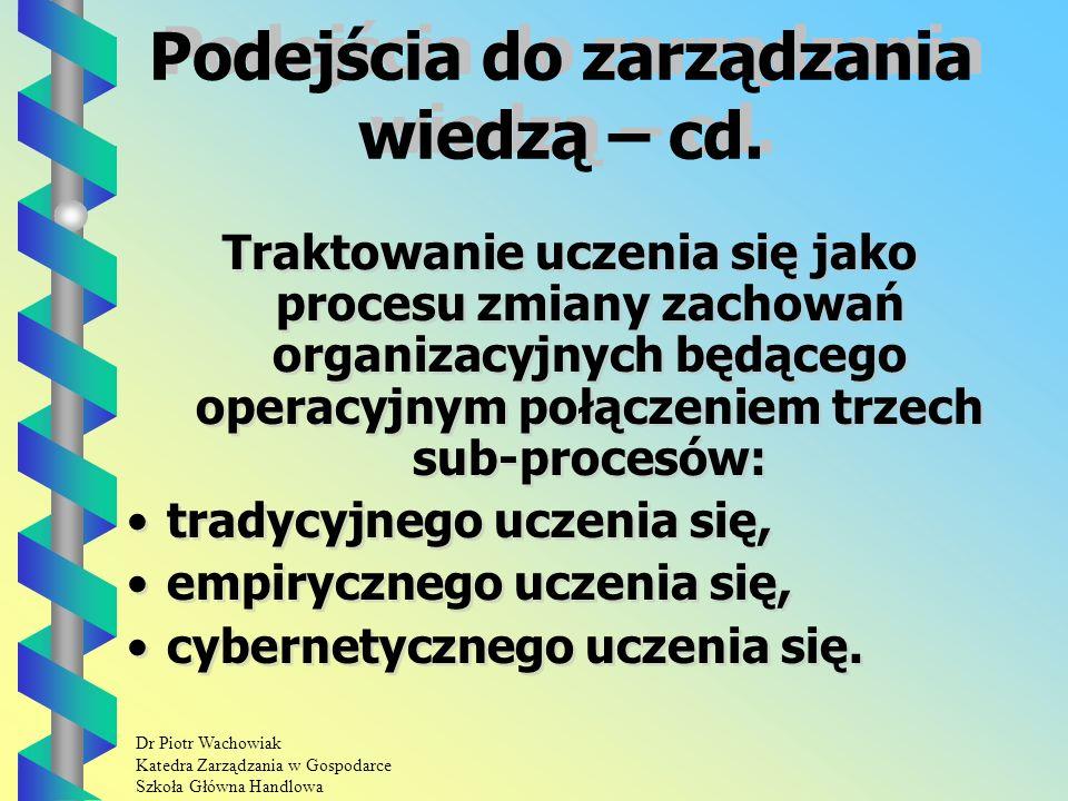 Dr Piotr Wachowiak Katedra Zarządzania w Gospodarce Szkoła Główna Handlowa Podejścia do zarządzania wiedzą – cd.