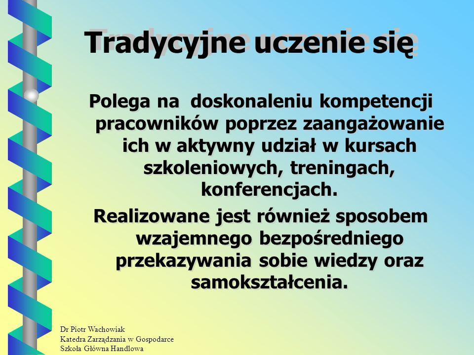 Dr Piotr Wachowiak Katedra Zarządzania w Gospodarce Szkoła Główna Handlowa Tradycyjne uczenie się Polega na doskonaleniu kompetencji pracowników poprzez zaangażowanie ich w aktywny udział w kursach szkoleniowych, treningach, konferencjach.
