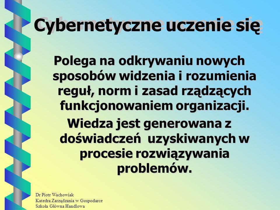 Dr Piotr Wachowiak Katedra Zarządzania w Gospodarce Szkoła Główna Handlowa Cybernetyczne uczenie się Polega na odkrywaniu nowych sposobów widzenia i rozumienia reguł, norm i zasad rządzących funkcjonowaniem organizacji.