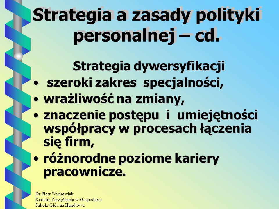 Dr Piotr Wachowiak Katedra Zarządzania w Gospodarce Szkoła Główna Handlowa Strategia a zasady polityki personalnej – cd.