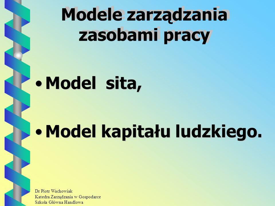 Dr Piotr Wachowiak Katedra Zarządzania w Gospodarce Szkoła Główna Handlowa Elementy planu szkolenia.
