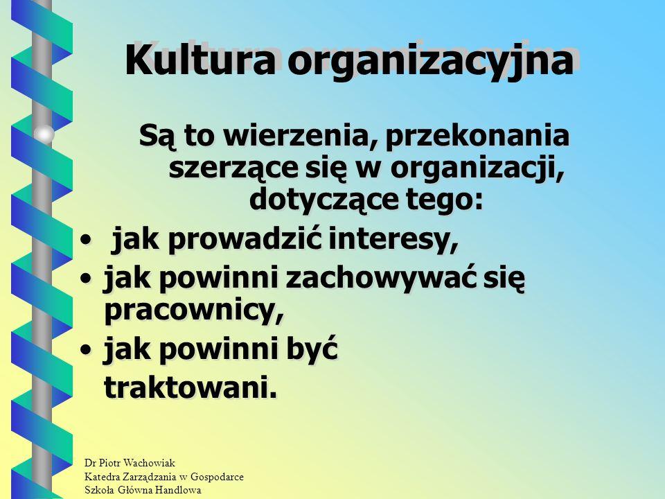 Dr Piotr Wachowiak Katedra Zarządzania w Gospodarce Szkoła Główna Handlowa Kultura organizacyjna Są to wierzenia, przekonania szerzące się w organizacji, dotyczące tego: jak prowadzić interesy, jak powinni zachowywać się pracownicy, jak powinni być traktowani.