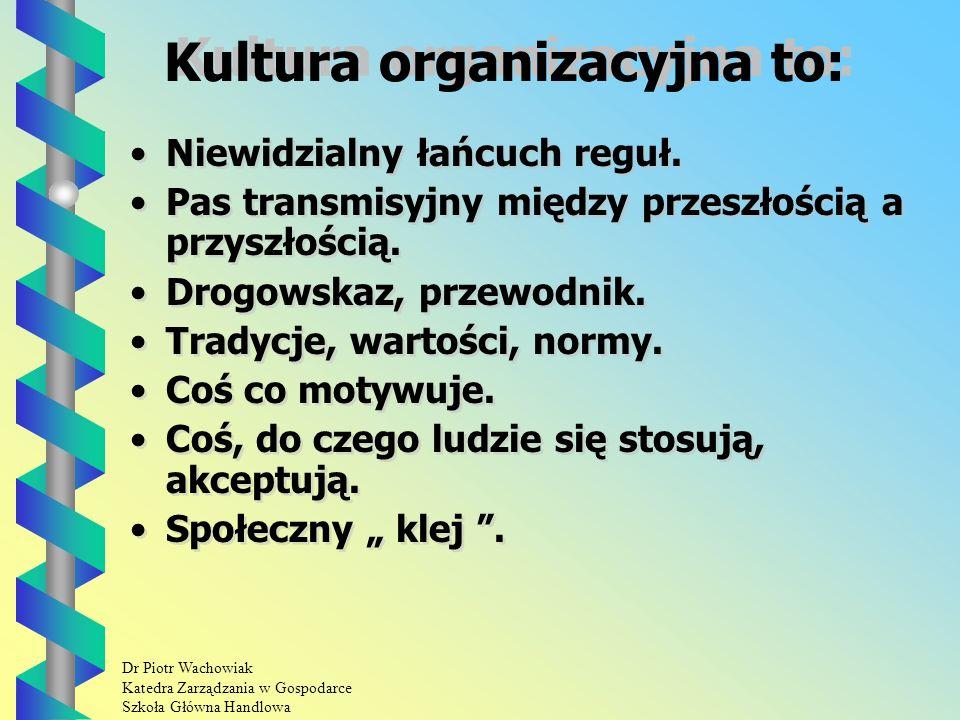 Dr Piotr Wachowiak Katedra Zarządzania w Gospodarce Szkoła Główna Handlowa Kultura organizacyjna to: Niewidzialny łańcuch reguł.
