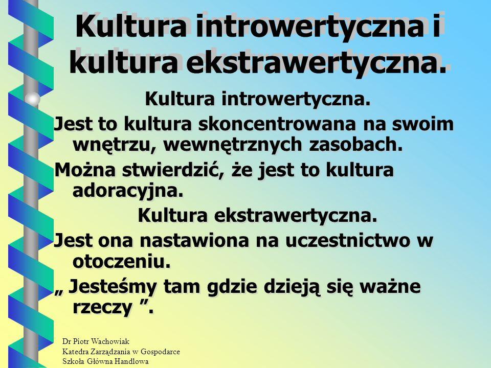 Dr Piotr Wachowiak Katedra Zarządzania w Gospodarce Szkoła Główna Handlowa Kultura introwertyczna i kultura ekstrawertyczna.