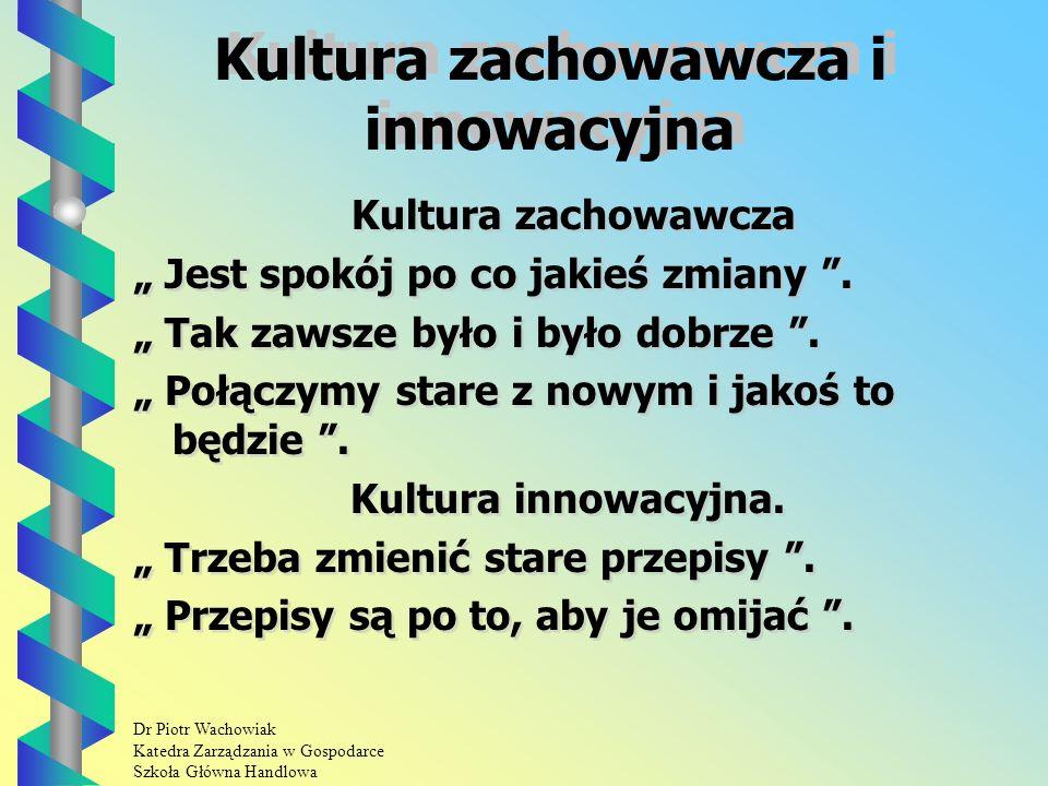 Dr Piotr Wachowiak Katedra Zarządzania w Gospodarce Szkoła Główna Handlowa Kultura zachowawcza i innowacyjna Kultura zachowawcza Jest spokój po co jakieś zmiany.
