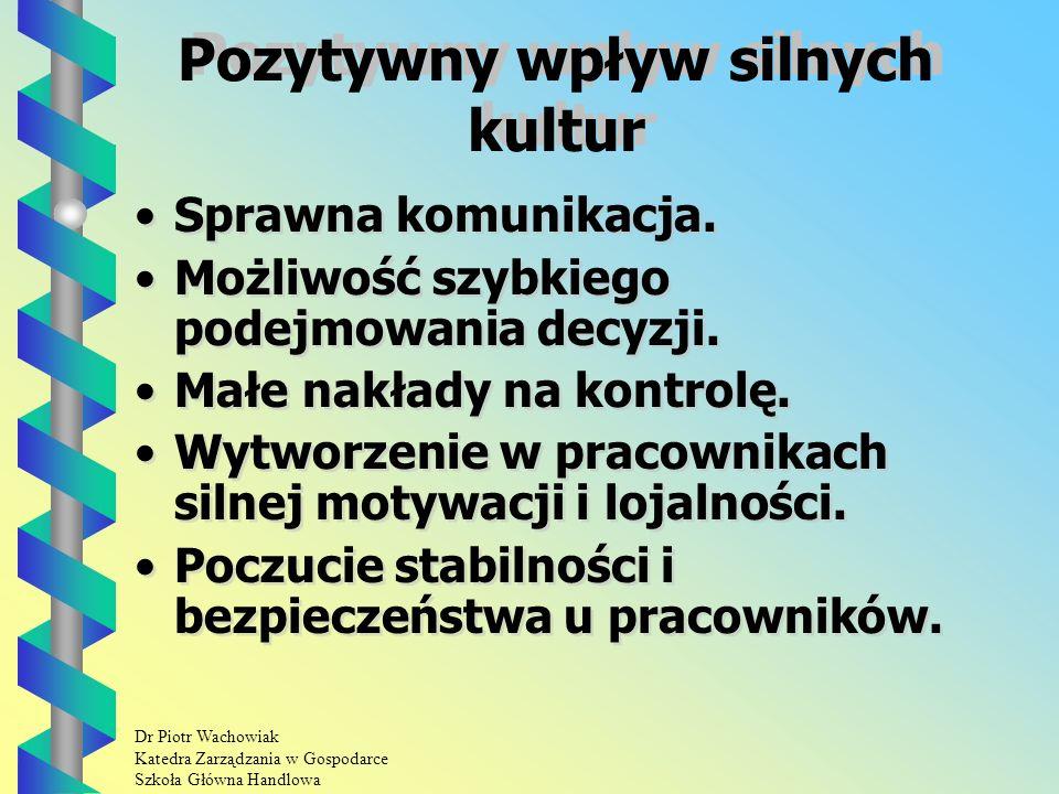 Dr Piotr Wachowiak Katedra Zarządzania w Gospodarce Szkoła Główna Handlowa Pozytywny wpływ silnych kultur Sprawna komunikacja.