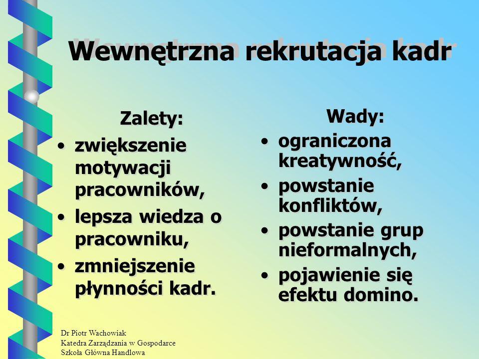 Dr Piotr Wachowiak Katedra Zarządzania w Gospodarce Szkoła Główna Handlowa Wewnętrzna rekrutacja kadr Zalety: zwiększenie motywacji pracowników, lepsza wiedza o pracowniku, zmniejszenie płynności kadr.