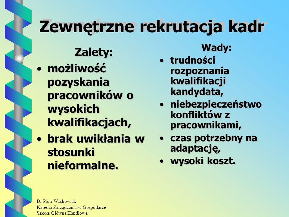 Dr Piotr Wachowiak Katedra Zarządzania w Gospodarce Szkoła Główna Handlowa Zewnętrzne rekrutacja kadr Zalety: możliwość pozyskania pracowników o wysokich kwalifikacjach, brak uwikłania w stosunki nieformalne.