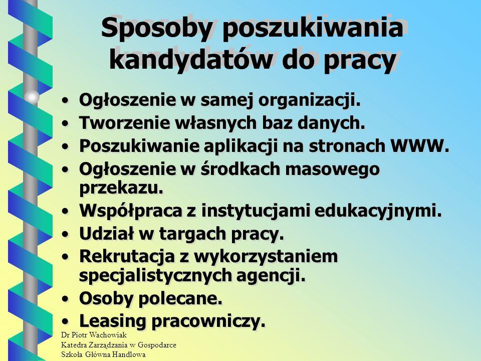 Dr Piotr Wachowiak Katedra Zarządzania w Gospodarce Szkoła Główna Handlowa Sposoby poszukiwania kandydatów do pracy Ogłoszenie w samej organizacji.