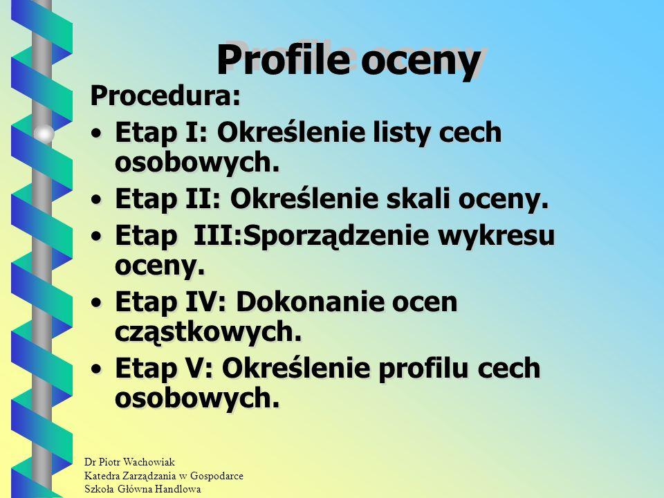 Dr Piotr Wachowiak Katedra Zarządzania w Gospodarce Szkoła Główna Handlowa Profile oceny Procedura: Etap I: Określenie listy cech osobowych.