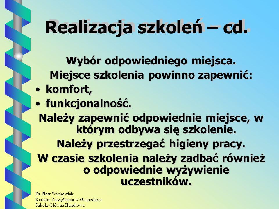 Dr Piotr Wachowiak Katedra Zarządzania w Gospodarce Szkoła Główna Handlowa Wybór odpowiedniego miejsca.