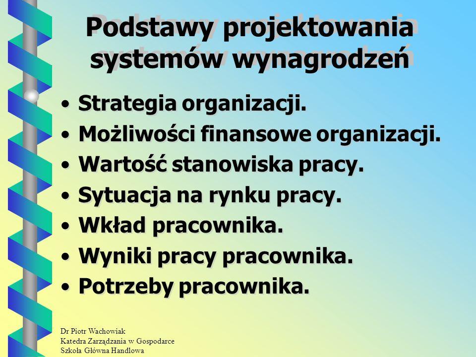 Dr Piotr Wachowiak Katedra Zarządzania w Gospodarce Szkoła Główna Handlowa Podstawy projektowania systemów wynagrodzeń Strategia organizacji.