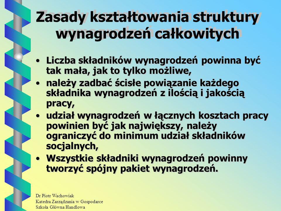 Dr Piotr Wachowiak Katedra Zarządzania w Gospodarce Szkoła Główna Handlowa Zasady kształtowania struktury wynagrodzeń całkowitych Liczba składników wynagrodzeń powinna być tak mała, jak to tylko możliwe, należy zadbać ścisłe powiązanie każdego składnika wynagrodzeń z ilością i jakością pracy, udział wynagrodzeń w łącznych kosztach pracy powinien być jak największy, należy ograniczyć do minimum udział składników socjalnych, Wszystkie składniki wynagrodzeń powinny tworzyć spójny pakiet wynagrodzeń.