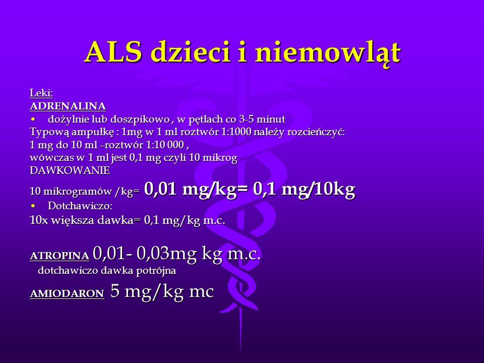 ALS dzieci i niemowląt Leki:ADRENALINA dożylnie lub doszpikowo, w pętlach co 3-5 minutdożylnie lub doszpikowo, w pętlach co 3-5 minut Typową ampułkę :