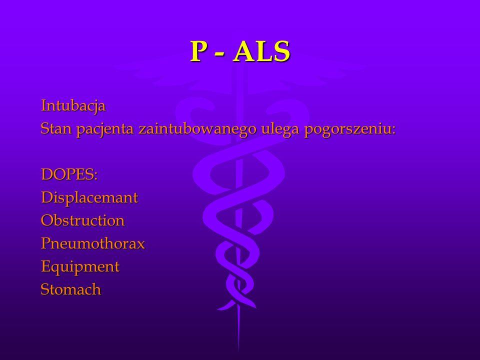 P - ALS Intubacja Stan pacjenta zaintubowanego ulega pogorszeniu: DOPES:DisplacemantObstructionPneumothoraxEquipmentStomach