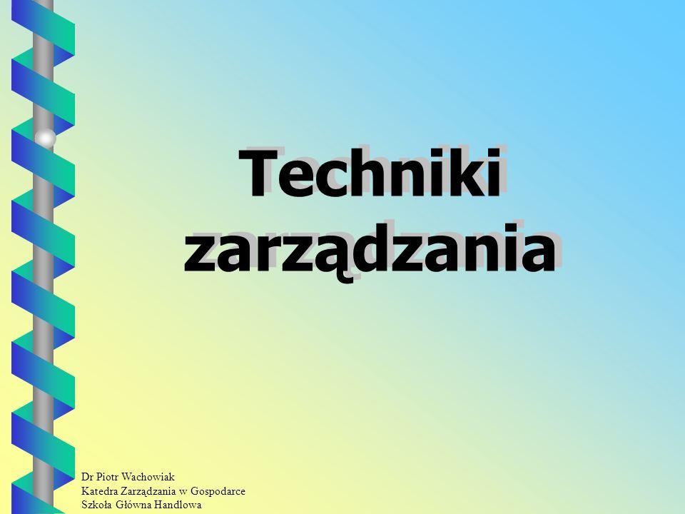 Dr Piotr Wachowiak Katedra Zarządzania w Gospodarce Szkoła Główna Handlowa Techniki zarządzania
