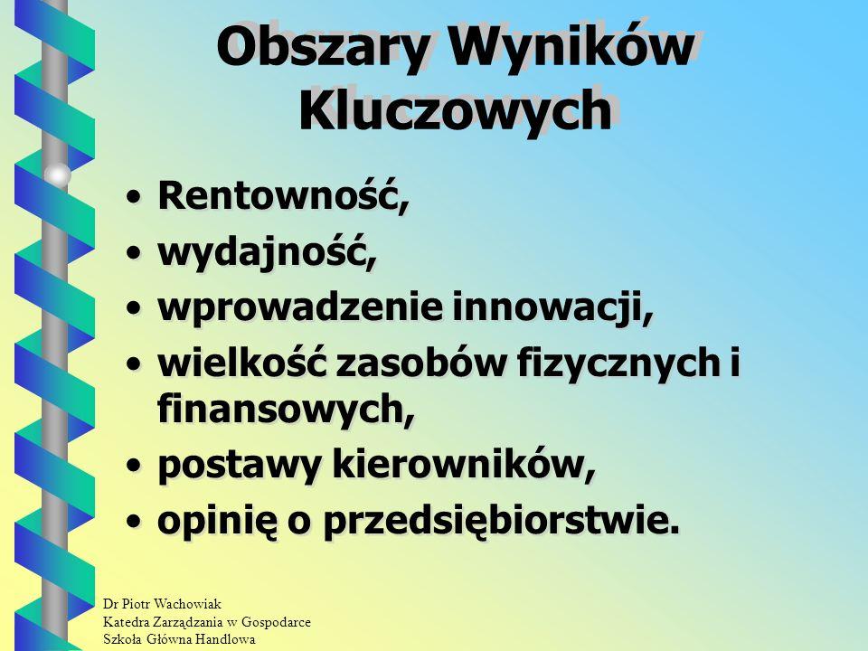 Dr Piotr Wachowiak Katedra Zarządzania w Gospodarce Szkoła Główna Handlowa Zarządzanie przez cele Jest to specyficzny sposób formułowania i zatwierdzania celów.