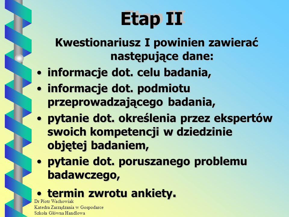 Dr Piotr Wachowiak Katedra Zarządzania w Gospodarce Szkoła Główna Handlowa Etap I Grupa ekspertów nie powinna być zbyt liczna -do 20 osób.