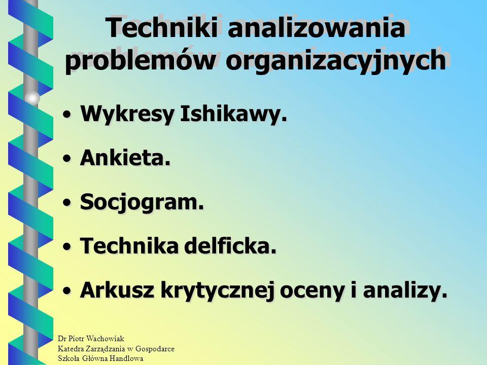 Dr Piotr Wachowiak Katedra Zarządzania w Gospodarce Szkoła Główna Handlowa Techniki analizowania problemów organizacyjnych Wykresy Ishikawy.
