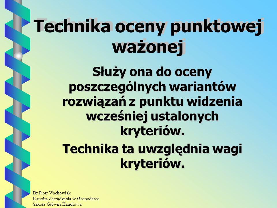 Dr Piotr Wachowiak Katedra Zarządzania w Gospodarce Szkoła Główna Handlowa Procedura techniki porównań binarnych.