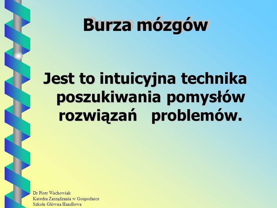 Dr Piotr Wachowiak Katedra Zarządzania w Gospodarce Szkoła Główna Handlowa Profile oceny Procedura: Etap I: Określenie listy kryteriów oceny.