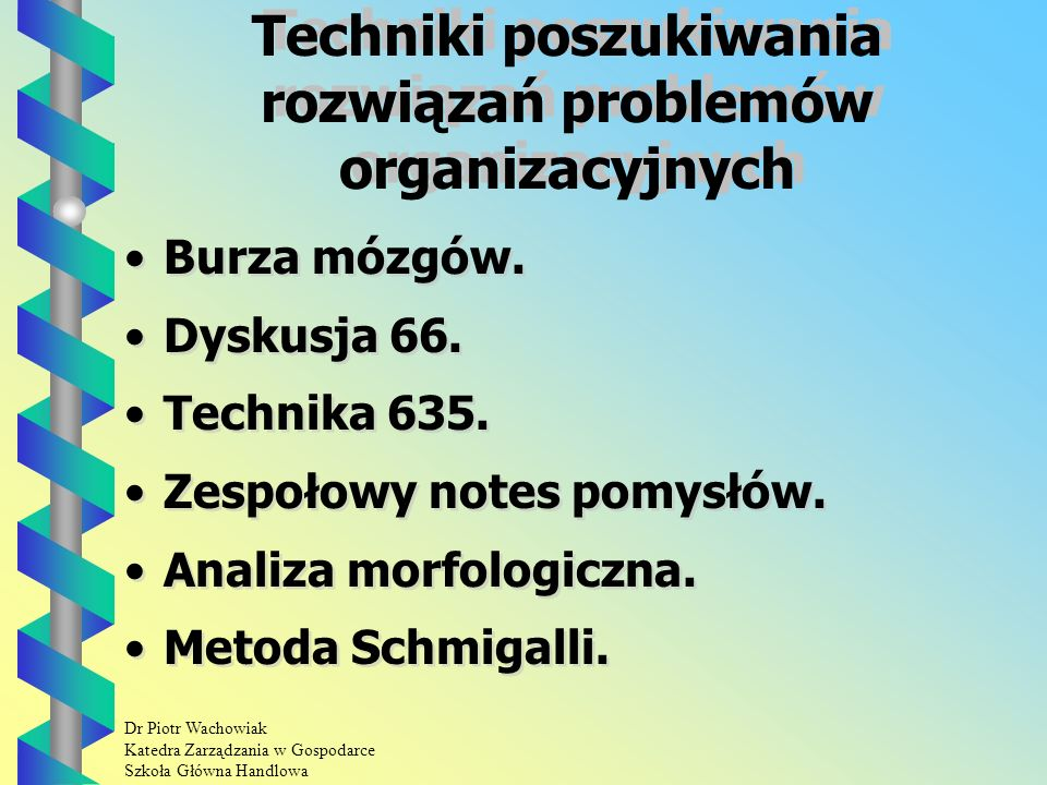 Dr Piotr Wachowiak Katedra Zarządzania w Gospodarce Szkoła Główna Handlowa Analiza morfologiczna Służy ona do poszukiwania rozwiązań złożonych i kompleksowych problemów technicznych i organizacyjnych.