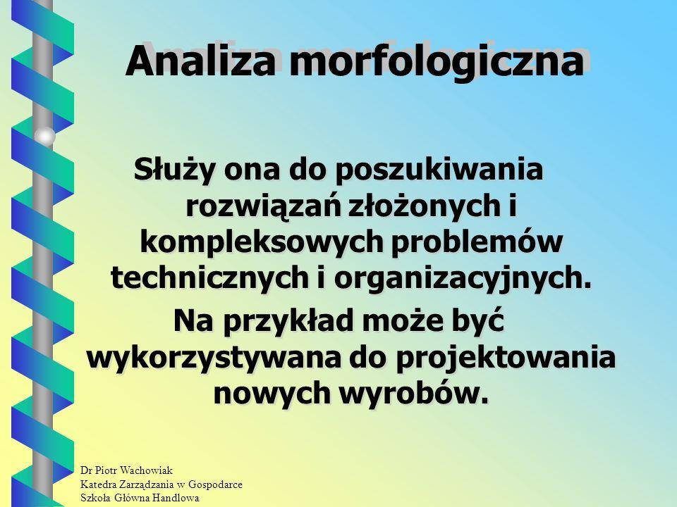 Dr Piotr Wachowiak Katedra Zarządzania w Gospodarce Szkoła Główna Handlowa Zalety techniki 635 Można wygenerować w krótkim czasie dużą liczbę pomysłów.