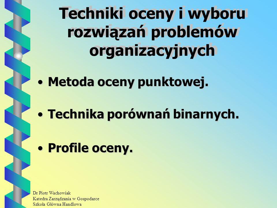Dr Piotr Wachowiak Katedra Zarządzania w Gospodarce Szkoła Główna Handlowa Analiza morfologiczna procedura Etap I: Sformułowanie problemu.