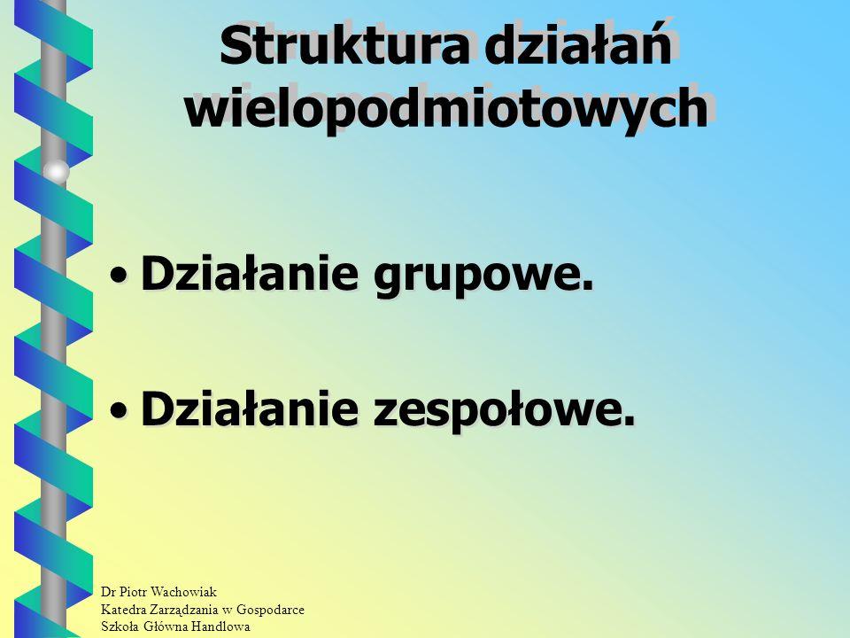 Dr Piotr Wachowiak Katedra Zarządzania w Gospodarce Szkoła Główna Handlowa Działania wielopodmiotowe Działaniem wielopodmiotowym nazywa się takie działanie w którym uczestniczy więcej niż jedna osoba.