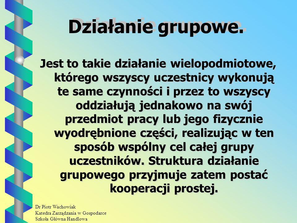 Dr Piotr Wachowiak Katedra Zarządzania w Gospodarce Szkoła Główna Handlowa Struktura działań wielopodmiotowych Działanie grupowe.