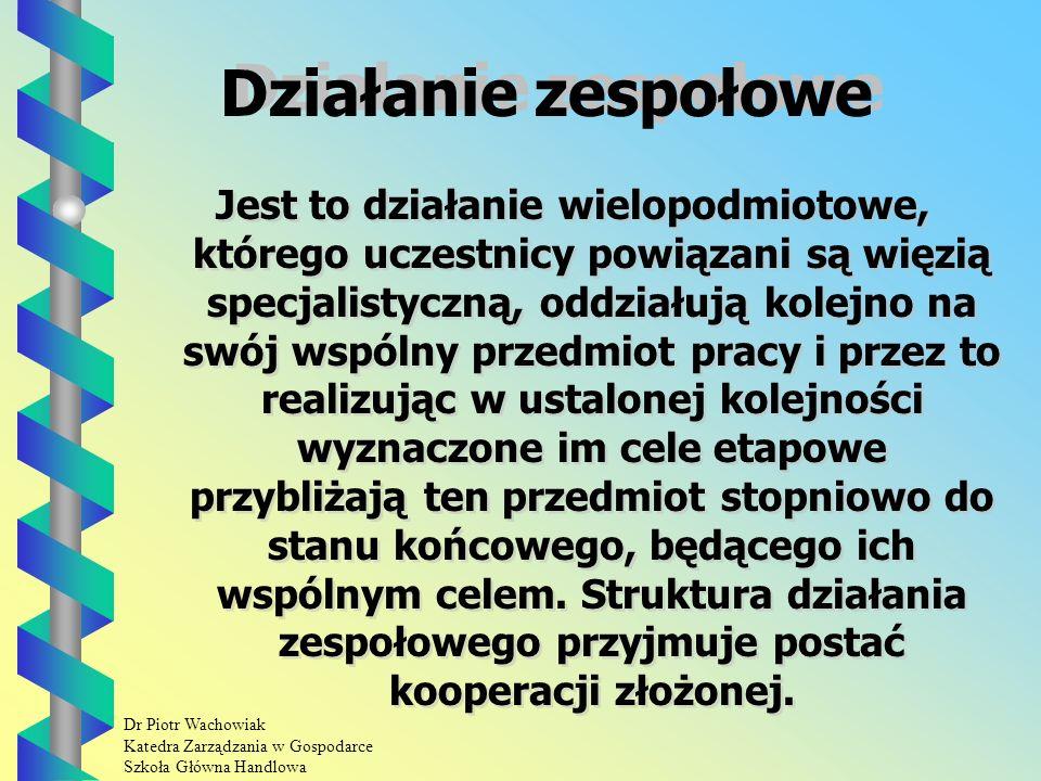 Dr Piotr Wachowiak Katedra Zarządzania w Gospodarce Szkoła Główna Handlowa Działanie grupowe.