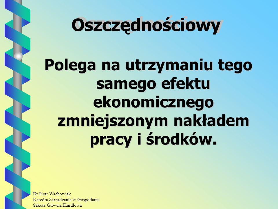 Dr Piotr Wachowiak Katedra Zarządzania w Gospodarce Szkoła Główna Handlowa Sposoby harmonizacji pracy Oszczędnościowy.