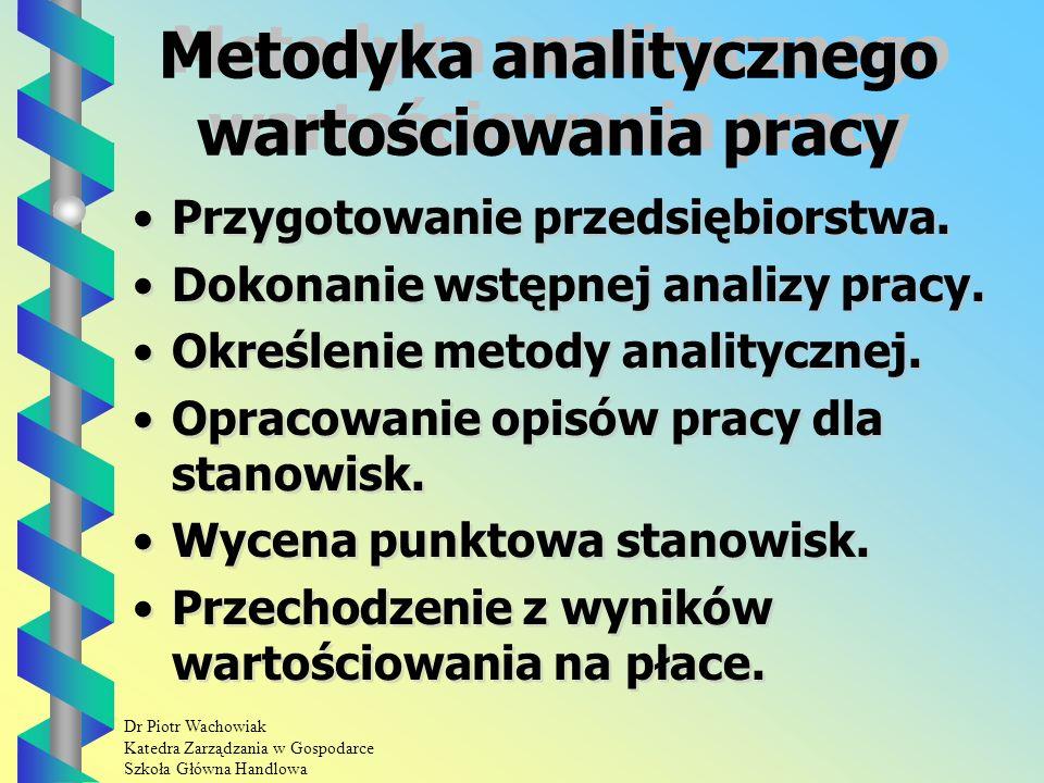 Dr Piotr Wachowiak Katedra Zarządzania w Gospodarce Szkoła Główna Handlowa Grupy metod wartościowania pracy Metody sumaryczne: - metoda sumaryczno - porównawcza, - metoda porównania parami.