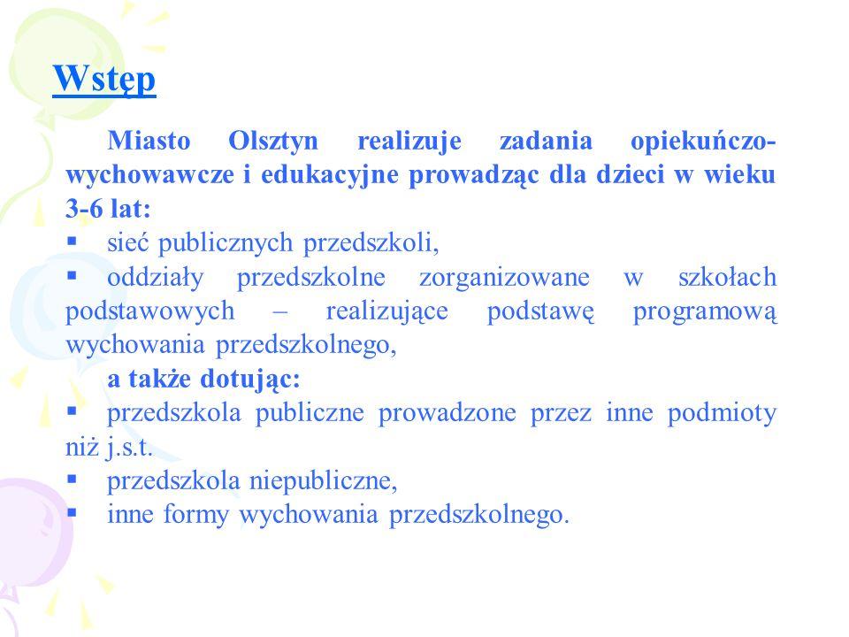 Wstęp Miasto Olsztyn realizuje zadania opiekuńczo- wychowawcze i edukacyjne prowadząc dla dzieci w wieku 3-6 lat: sieć publicznych przedszkoli, oddzia