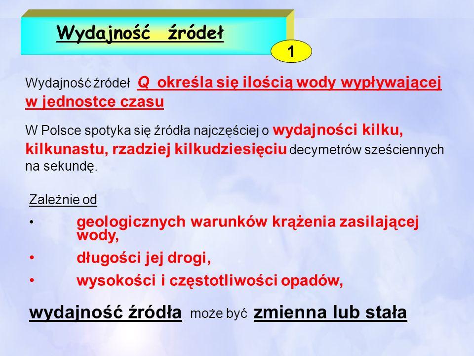 Wydajność źródeł Wydajność źródeł Q określa się ilością wody wypływającej w jednostce czasu W Polsce spotyka się źródła najczęściej o wydajności kilku