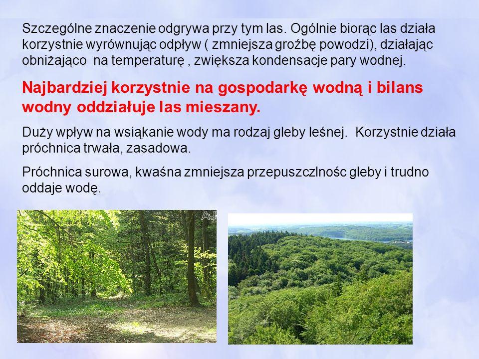 Szczególne znaczenie odgrywa przy tym las. Ogólnie biorąc las działa korzystnie wyrównując odpływ ( zmniejsza groźbę powodzi), działając obniżająco na