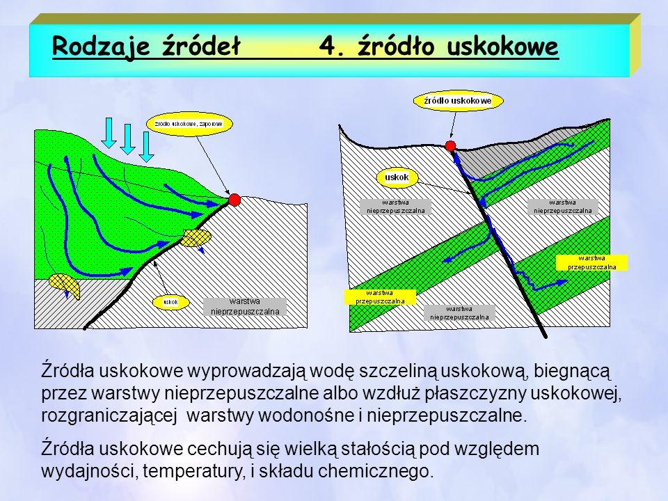 Rodzaje źródeł4. źródło uskokowe Źródła uskokowe wyprowadzają wodę szczeliną uskokową, biegnącą przez warstwy nieprzepuszczalne albo wzdłuż płaszczyzn