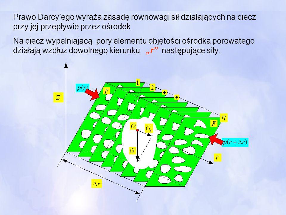 Prawo Darcyego wyraża zasadę równowagi sił działających na ciecz przy jej przepływie przez ośrodek. Na ciecz wypełniającą pory elementu objętości ośro
