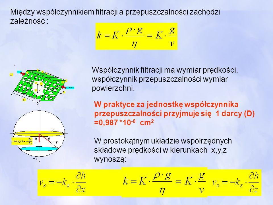 Współczynnik filtracji ma wymiar prędkości, współczynnik przepuszczalności wymiar powierzchni. W praktyce za jednostkę współczynnika przepuszczalności